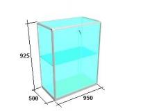 Прилавок из AL профиля, стеклянный, раздвижные дверки